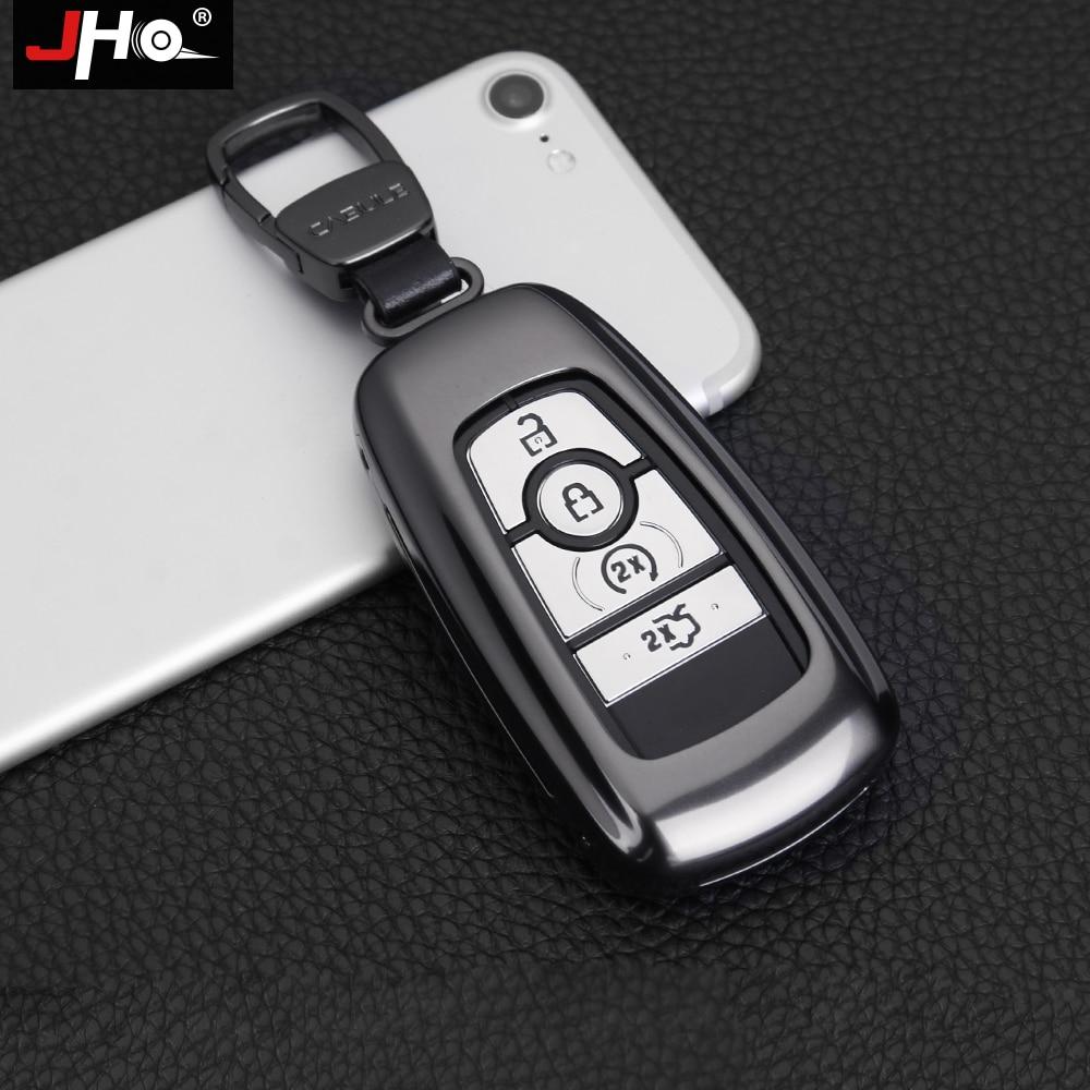 JHO Métal À Distance Clé Fob Couverture Case Smart Key Shell Pour Ford Explorer F150 Mustang BORD 2018 En Aluminium Voiture Style accessoires