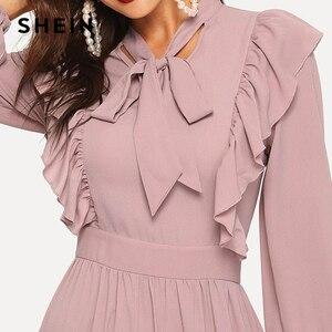 Image 5 - SHEIN rose Abaya cravate cou ajustement et Flare volants plissé taille haute une ligne robe femmes 2019 printemps solide élégant Maxi robes