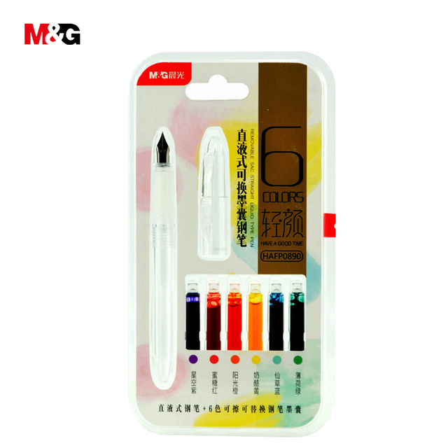 MG New Full Transparent Visible Fountain Pen Set With Color Ink For School Kid Office Write