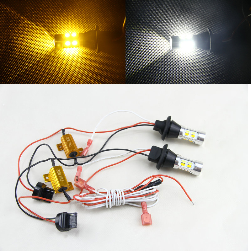 Canbus Error Free Switchback Dual-Color White/Amber T20 7440 W21W 7440A 7441 Led Light Bulbs For Car Auto Turn Signal Lights 2pcs brand new high quality superb error free 5050 smd 360 degrees led backup reverse light bulbs t15 for jeep grand cherokee