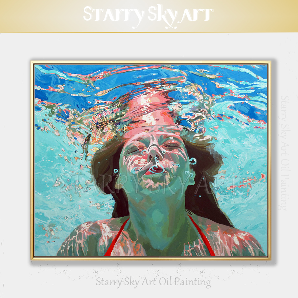 Top Artist Hand-painted High Quality Impressionist Swimmer Portrait Oil Painting on Canvas Beautiful Lady Diving Oil PaintingTop Artist Hand-painted High Quality Impressionist Swimmer Portrait Oil Painting on Canvas Beautiful Lady Diving Oil Painting