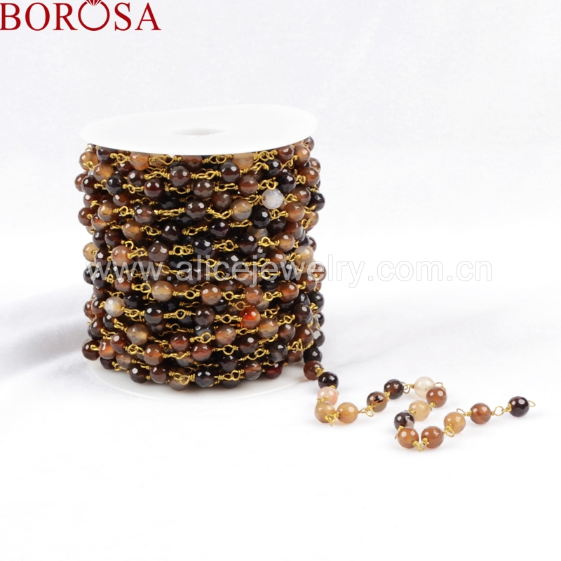 BOROSA New Arrival 2017 Gold Color Or Silver Color Natural Brown Color Stone Faceted Beaded Chains for Necklace Making JT077