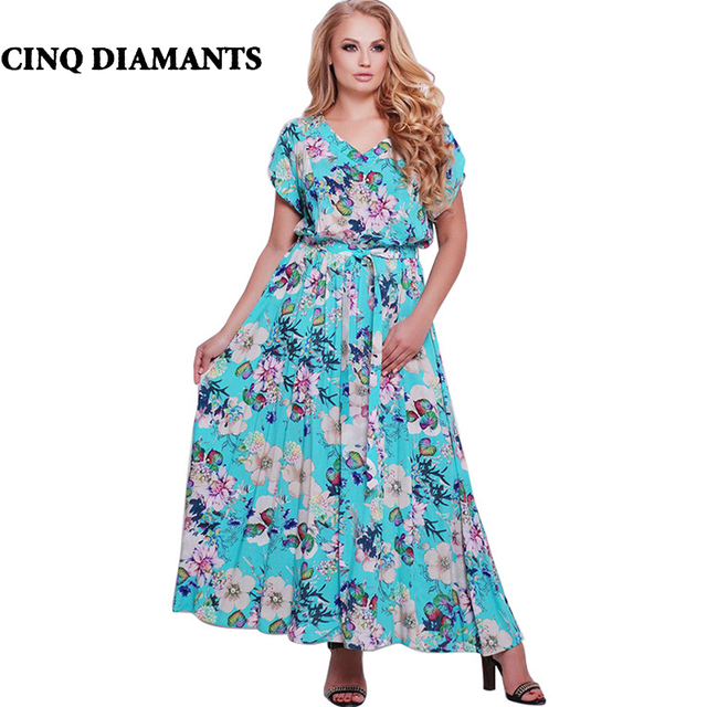 CINQ DIAMANTS Summer Boho Dress Women Plus Size Maxi Dress Elegant Long  Dress Jurk robe femme ete 2018-in Dresses from Women\'s Clothing &  Accessories ...