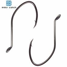 Easy Catch 100pcs 8832 High Carbon Steel Fishing Hooks Black Offset Wide Gap Catfish Bait Fishhooks Size 1 4 6 8 10 1/0 2/0 4/0