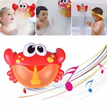 лучшая цена Baby Bath Toys Bubble Crabs Funny Bath Music Bubble Maker Swimming Bathroom Pool Toys For Children Bathtub Soap Machine