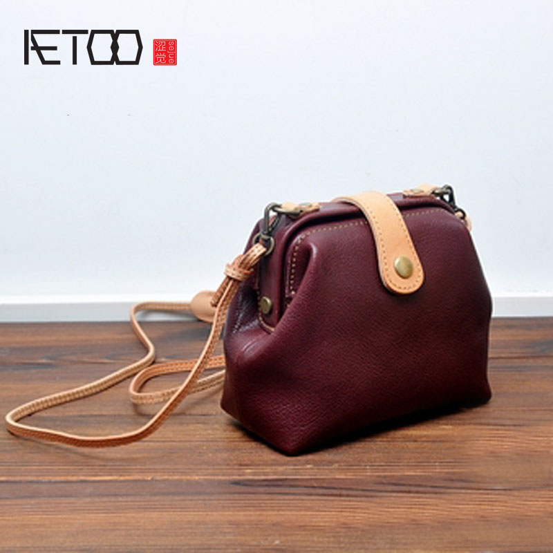 AETOO Korean version of the first layer of leather cowhide leather doctor bag oblique mini bag wild leather baby bag aetoo first layer of leather shoulder bag female bag korean version of the school wind simple wild casual elephant pattern durab