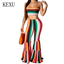 KEXU Womens Striped Print Tube Top To Play Flared Jumpsuits 2 Pieces Sets Sexy Off Shoulder Casual Playsuits Macacao Feminino