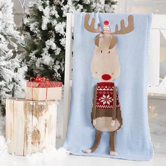 Nordic Style 60x120CM Knitted Reindeer Blanket For Baby Reindeer Knitting Blanket For Kid baby Shower Gifts Deer Throw Blanket