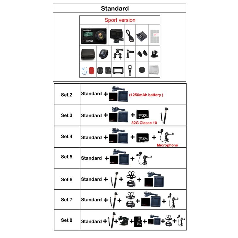 SOOCOO S200 Action Sport Caméra Ultra HD 4 K 20MP NTK96660 Puce Cam IMX078 Capteur WiFi Gyro Contrôle Vocal Micro GPS Tactile Écran LCD - 6
