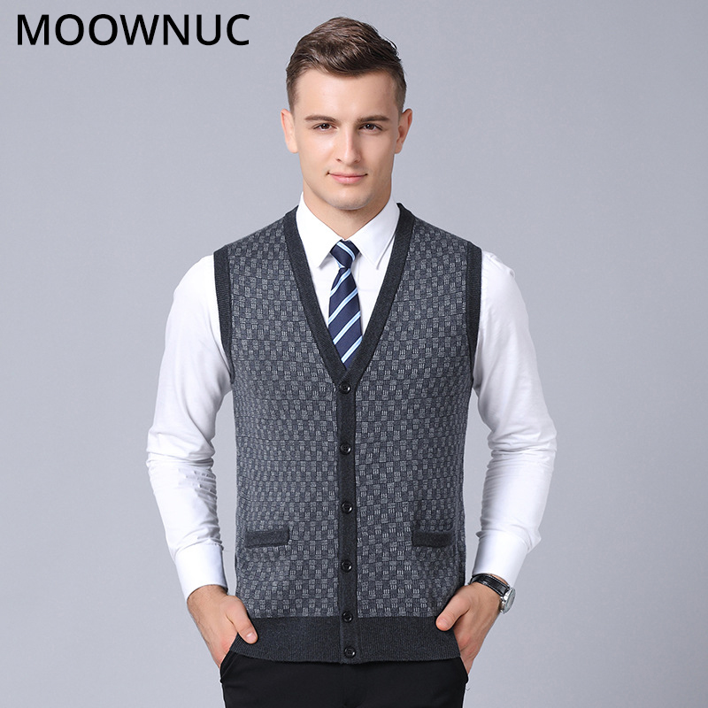 Men Sweater Sleeveless Cardigan Vest Men V-Neck Business Casual Male Homme Classic Style FIt Fashion MOOWNUC MWC Keep Warm 4XL