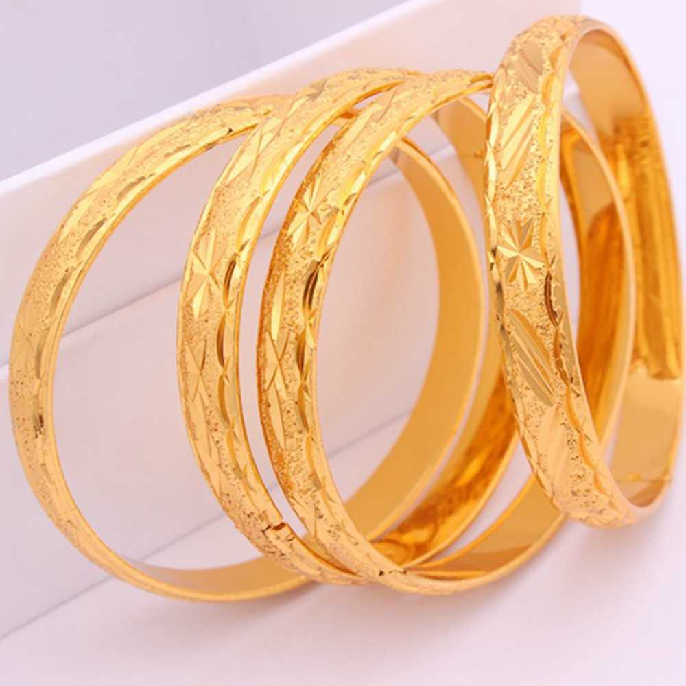 4 Pieces Carved Bangle Thick 24k Yellow Gold Filled Classic Wedding Womens Bangle Bracelet Dia 60mm,10mm