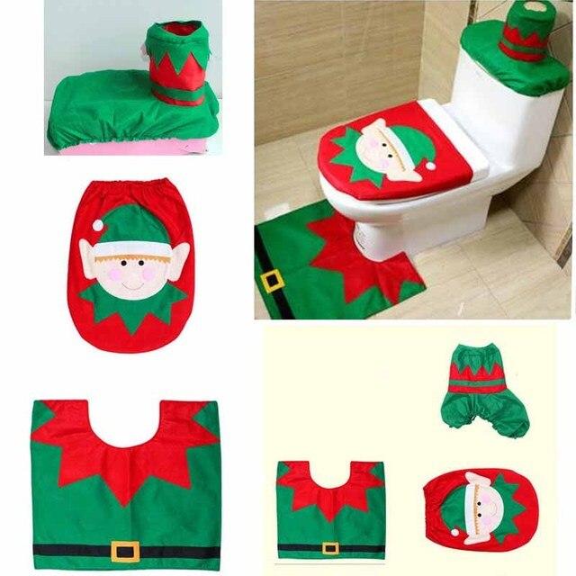 Christmas Toilet Kit Toilet Elf Three Piece Christmas Decorations