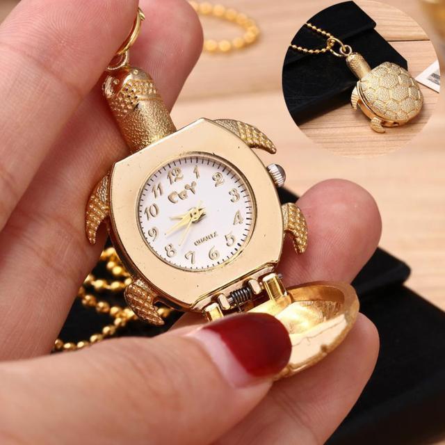 Fashion Turtle Shape Unisex Quartz Pocket Watch Jewelry Alloy Chain Pendant Neck