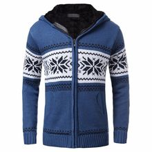 Free shipping Men 2017 Fleece Hooded Knitting Sweaters Christmas Snowflake Thick Zipper Cardigans Hooded Winter coat 82503