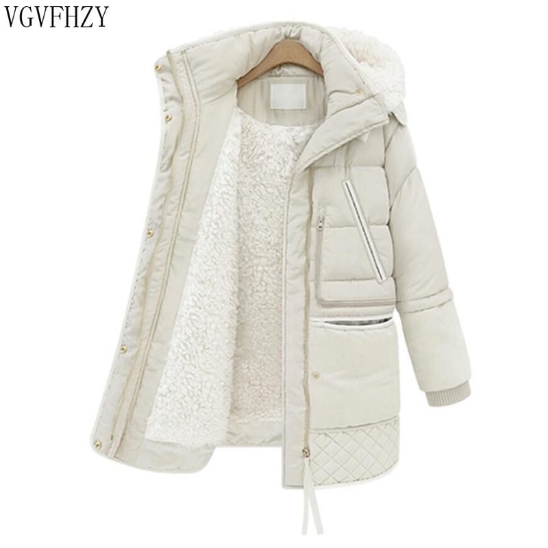 2018 winter thick   down   jackets white duck feather lamb wool women's   down     coat   outerwear parkas overcoat Thick Warm   Coat   Jacket