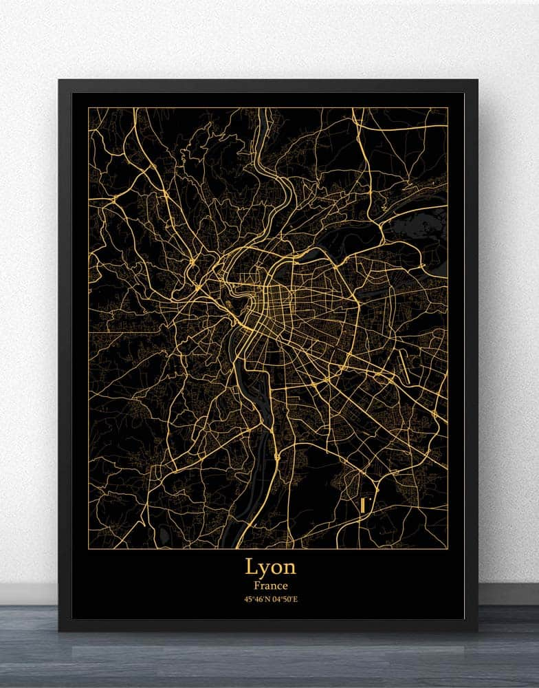 Lyon Marseille Montpellier Nantes <font><b>Paris</b></font> Toulouse France Map Poster image