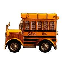 Vintage School Bus Model Metal Crafts Camera Photography Props Cafe Home Decor Miniature Craft Handicraft Furnishing Articles