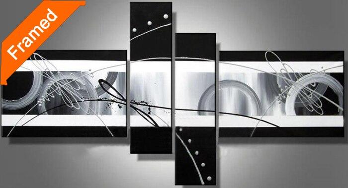 US $126.72 |Semplice nero quadri astratti dipinto a mano su tela per camera  da letto decorazione della parete di alta qualità di riproduzione pittura  ...