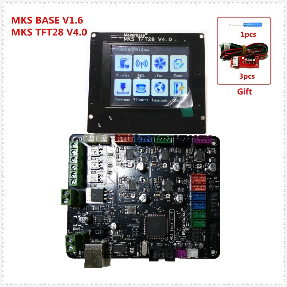 3d printer contol card MKS BASE v1.6 + MKS TFT28 touch screen all in one controller starter kits imprimante Reprap control panel 3d printer kit motherboard mks base mks tft32 touch screen all in one controller starter kits imprimante reprap control panel