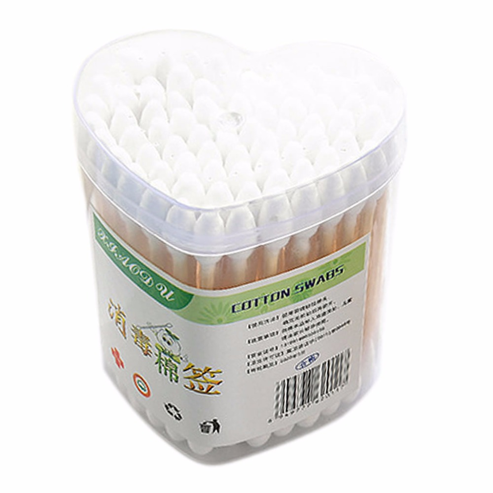 100Pcs Disposable Double-Headed Cotton Buds Swab Wooden Sticks Ears Cleaning Health Care Makeup Tools With Storage Box