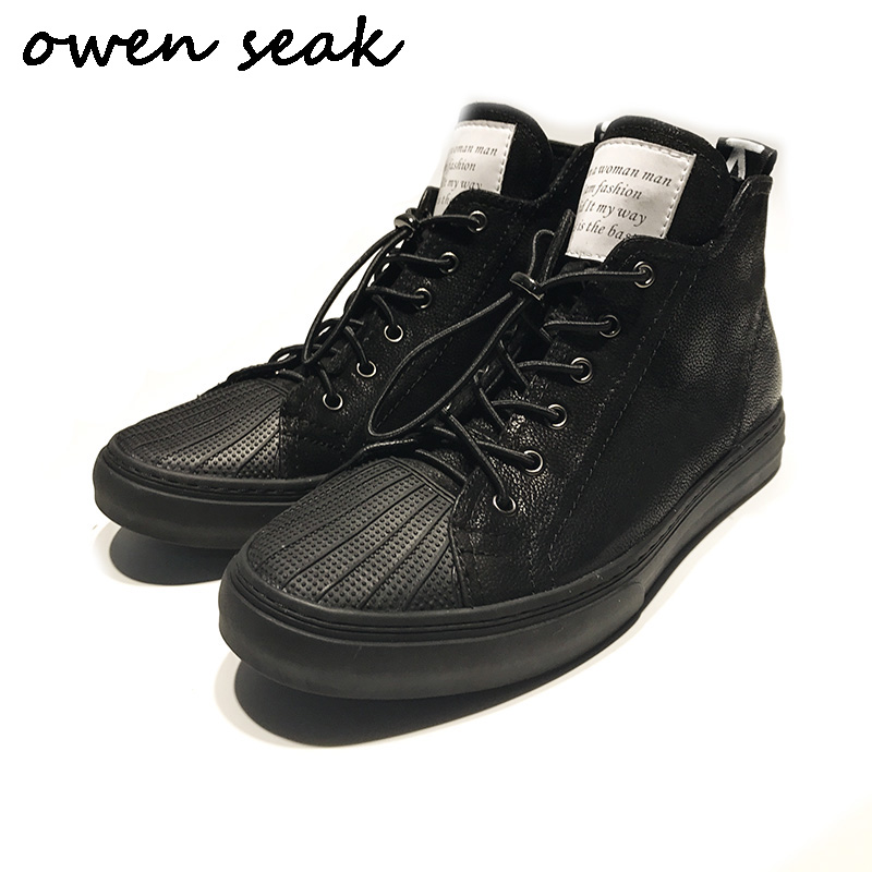 Owen Seak New Men Casual Shoes High Top Luxury Trainers Genuine Leather Boots Men Lace up