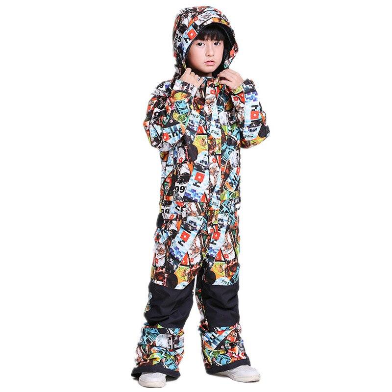 GSOU SNOW boys veste de Ski une pièce extérieur enfants combinaison snowboard imperméable bavoir costume enfants Ski barboteuses salopette manteau