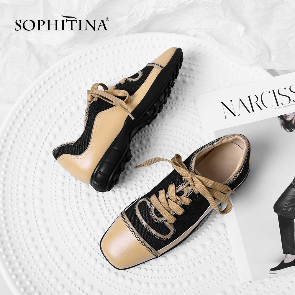 SOPHITINA Casual Women s Flats Fashion Mixed Colors Lace Up Genuine Leather Sneaker Shoes Comfortable Square
