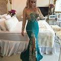 Side Split Mermaid Lace Evening Dress 2017 Gold Appliques Sheer Long Sleeves Women Formal Occasion Gowns Evening Dresses New
