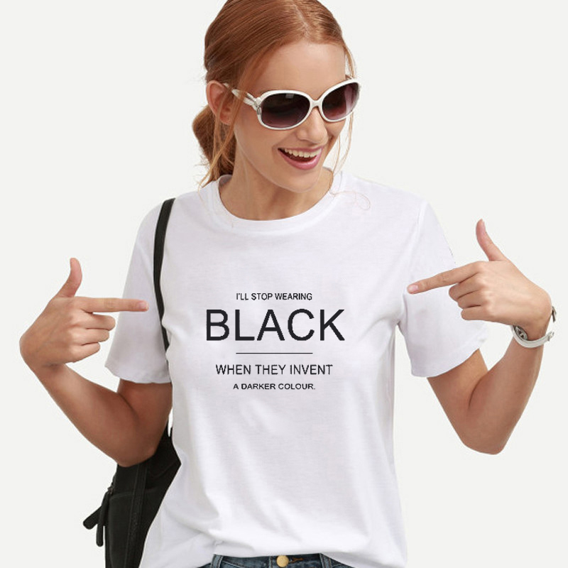 9387410c EnjoytheSpirit Women T Shirt I'll Stop Wearing Black Tshirt Funny Tees with Sayings  Womens Birthday Gift for Her 100% Cotton-in T-Shirts from Women's ...
