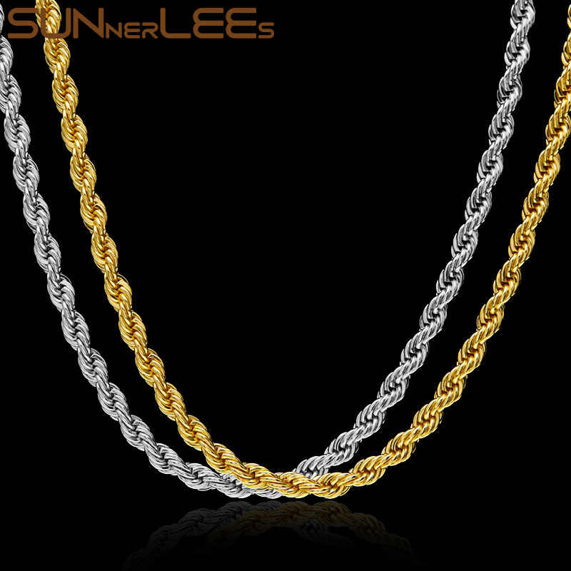 SUNNERLEES Fashion Jewelry Stainless Steel Necklace 2mm~6mm Rope Twisted Link Chain Silver Gold Color For Men Women Gift SC12 N
