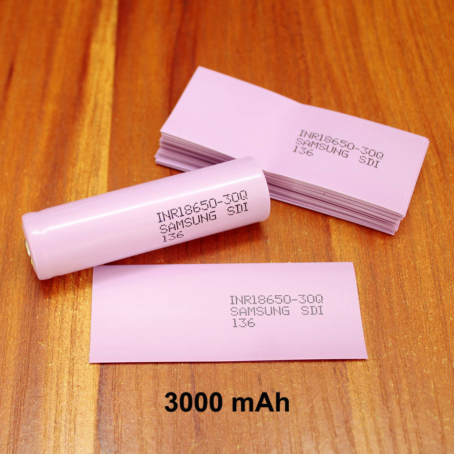 100pcs/lotLithium Battery PVC Plastic Heat Shrinkable Film 18650 Battery Packaging Special Shrink Sleeve 3000MAH