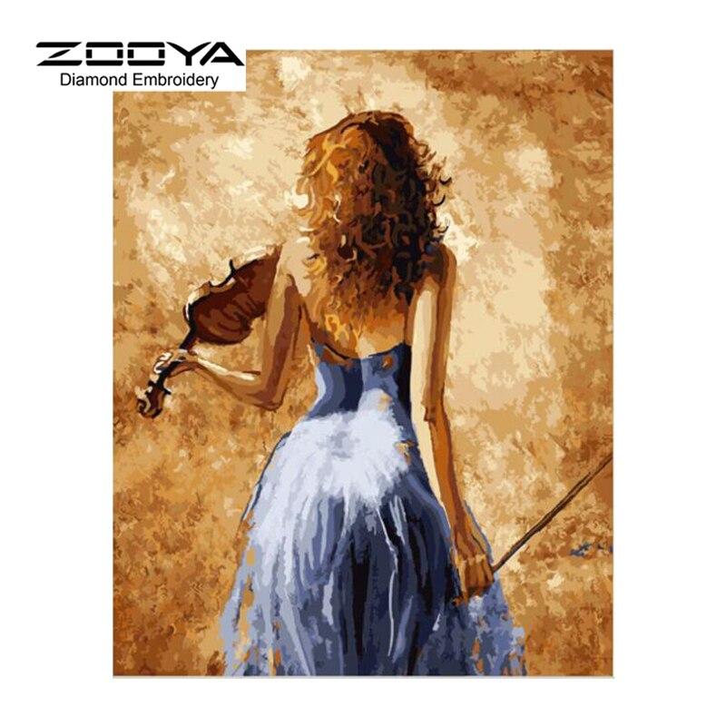 5D DIY Diamond Painting Portrait Diamond Painting Cross Stitch Beautiful Girl back Play Violin Needlework Home Decorative BJ1244