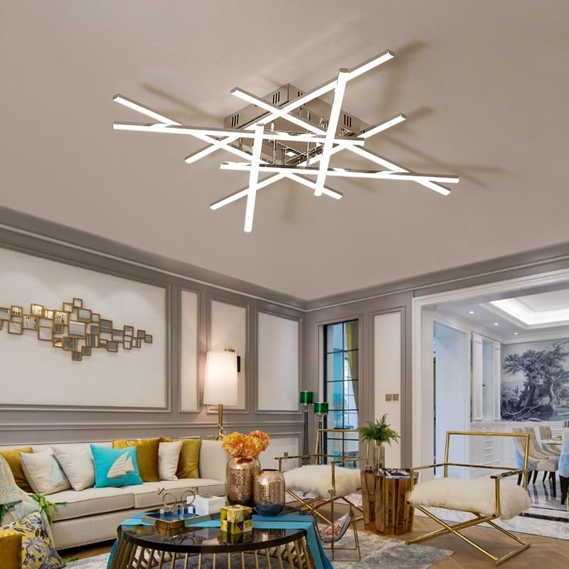 LICAN Modern Ceiling Lights LED Lamp for Living room Bedroom lamparas de techo Aluminum Chrome Lustre 110V 220V Ceiling Lamp