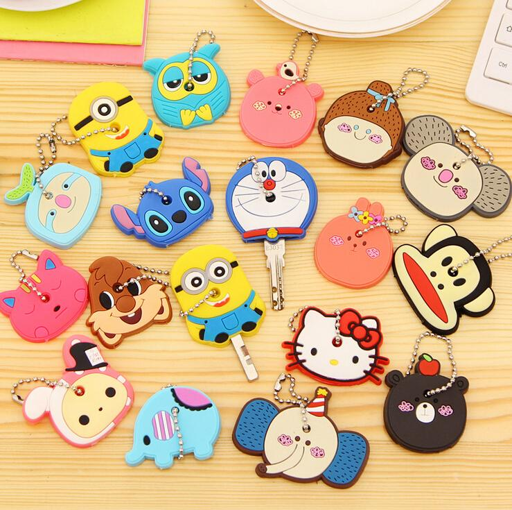 Key Rings: Cartoon Anime beautiful Silicone hello Kitty and Minnie key fashion owl key cover key chain key ring keychain women present