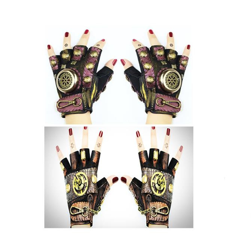 Halloween Cosplay High Quality Hot Sale Explosions Steampunk Neutral Rock Locomotive Dance Show Cool Half Finger Gloves Props