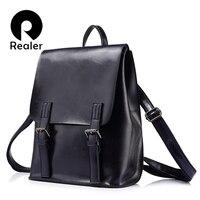 REALER Brand Fashion Women Oil Wax Cow Split Leather Backpacks For Teenage Girls Female Backpacks