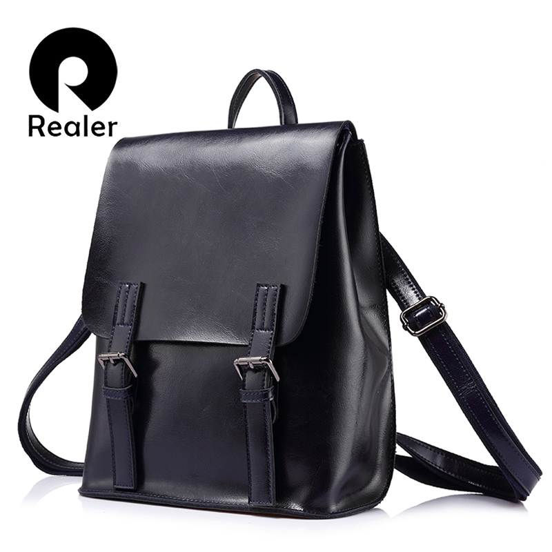 REALER brand backpack women fashion for teenage girls oil wax cow split leather backpacks vintage school bag shoulder bag female jmd backpacks for teenage girls women leather with headphone jack backpack school bag casual large capacity vintage laptop bag