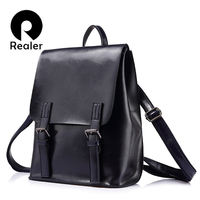 REALER Brand Fashion Women Oil Wax Cow Split Leather Backpacks For Teenage Girls Female Backpacks