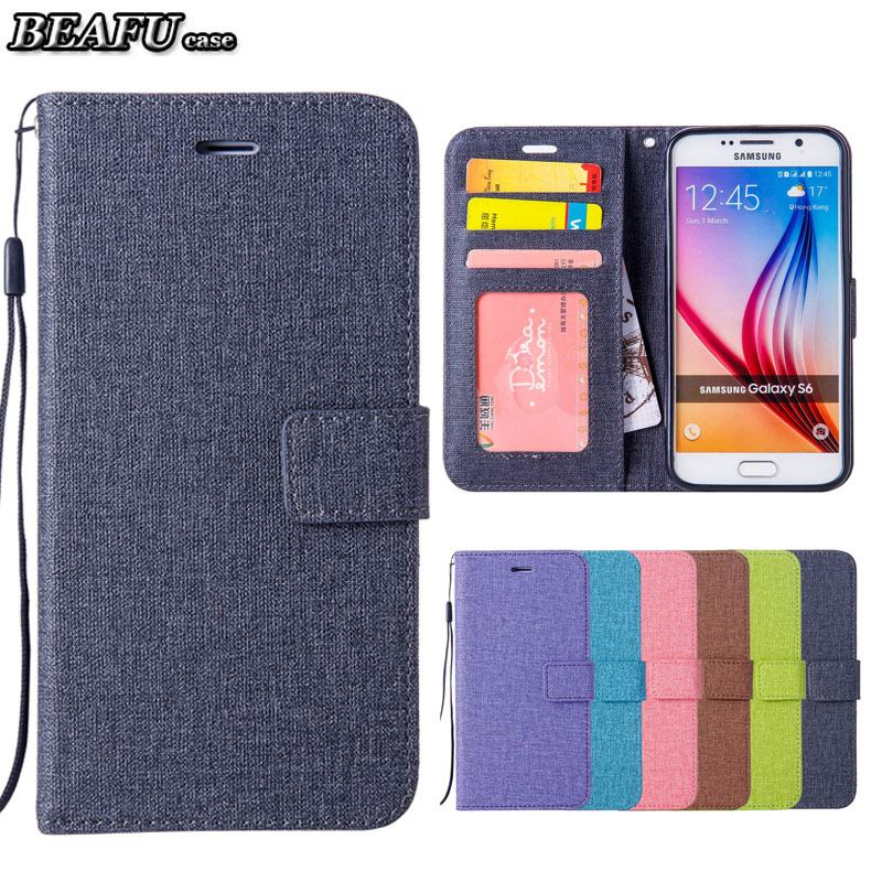 For Coque Samsung Galaxy S6 Edge Case Luxury Cotton Leather Flip Cover For Samsung S6 Wallet Stand Galaxy S 6 Phone Case Capa ...