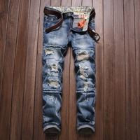 European And American Style Autumn And Winter Jeans Men S Feet Pants Men S Straight Jeans