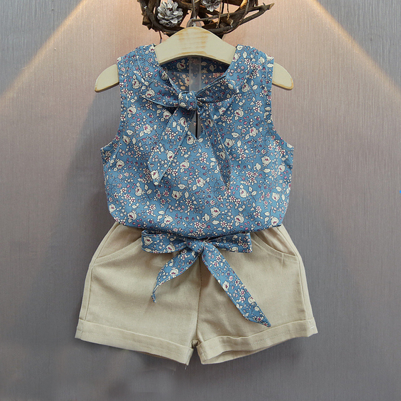 2017 New Girls Flower Printing Vest + Pure Color P...
