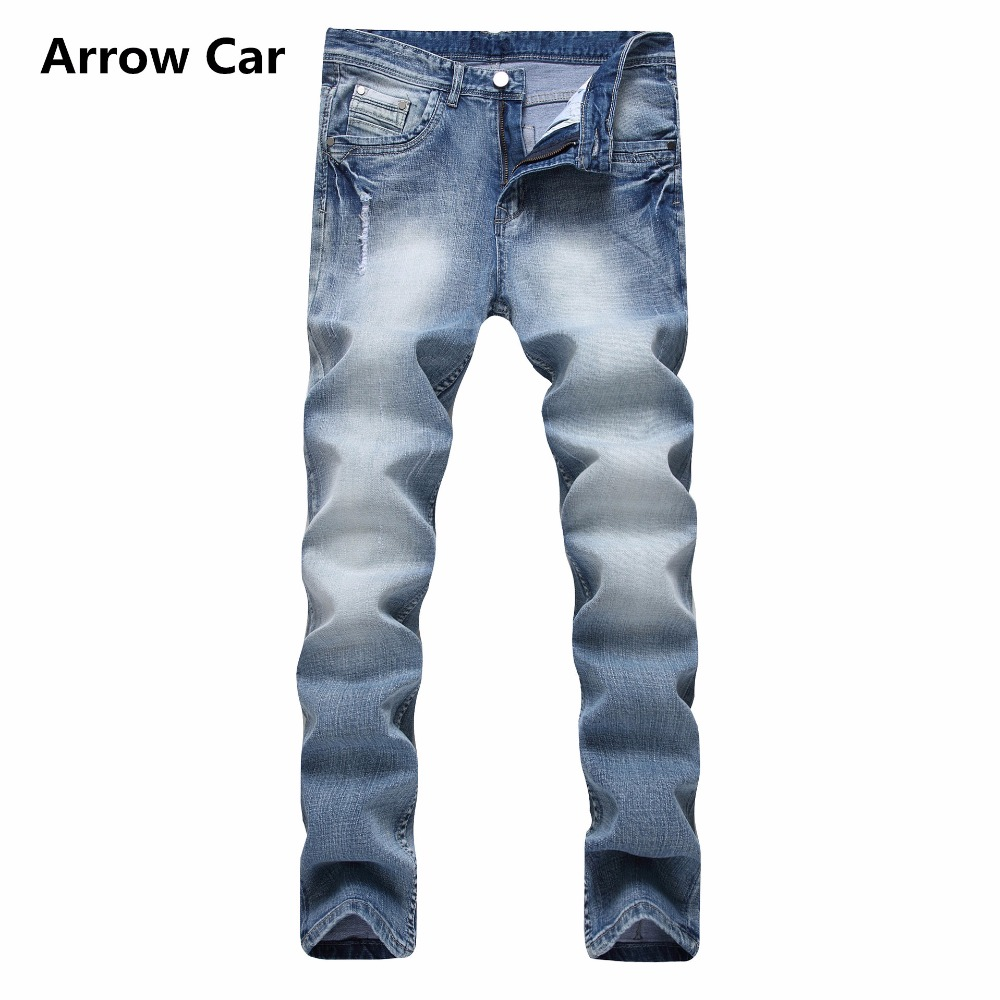Flèche voiture hommes Skinny Jeans trou peu profond Jeans haute Stretch Slim coton hommes Denim Long pantalon déchiré Jeans hommes