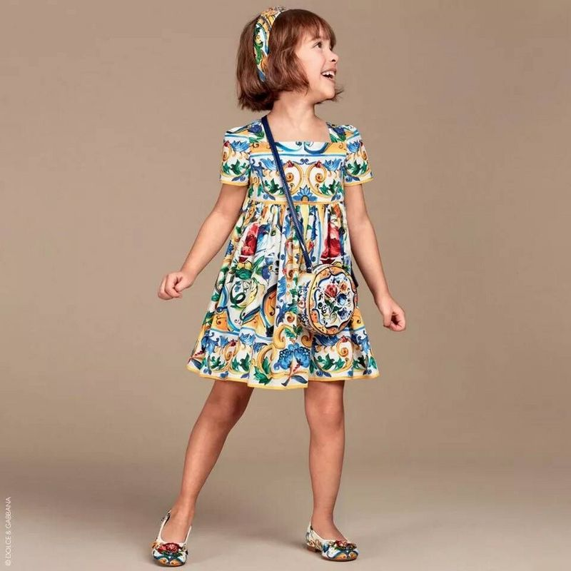 Baby Girls Dress  2016 Brand summer Kids Dresses for Girls Clothes Majalica Print Princess short Sleeve Dress Children Clothing baby girls dress summer 2017 brand girls wedding dress cotton princess dress for girls clothes kids dresses children clothing