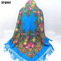 ZFQHJJ Russische Lady Etnische Stijl 2017 Luxe Merk Vrouwen Vierkante Sjaal Katoen Bloemen Patroon Lange Kwasten Shawl Hijab Sjaal