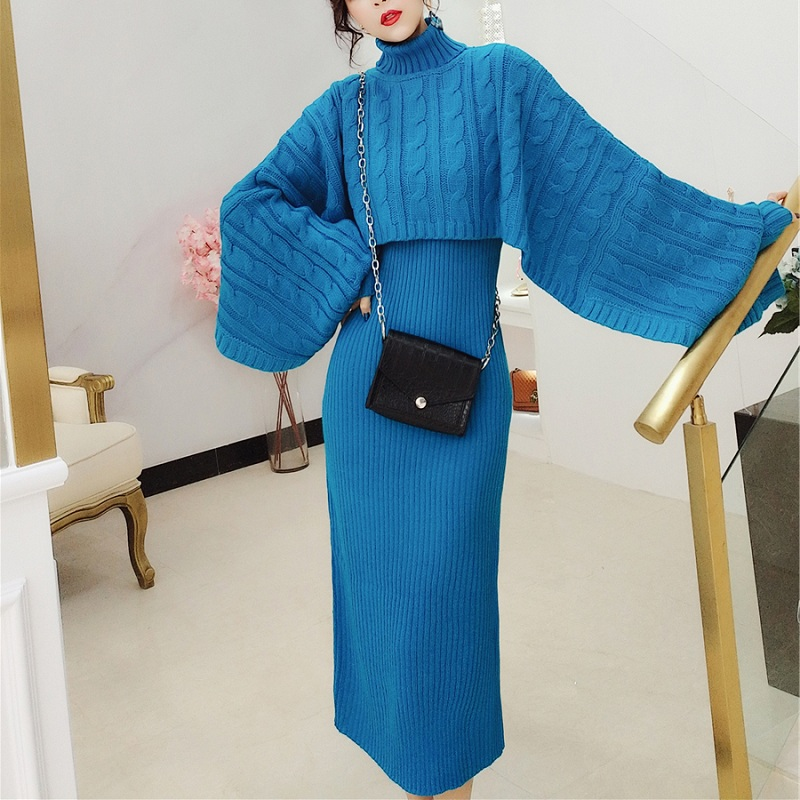 HAMALIEL Runway Winter Women 2 Piece Dress Blue Cloak Knitted Turtlenek Loose Crop + Vest Long Split Bodycon Pencil Skirt Suits