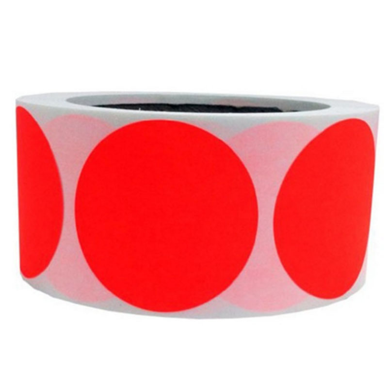 "Smart Sticker 2"" Inch Round Fluorescent Red Orange Color Coding Dot Labels 500 Colored Circle Stickers Per Roll"