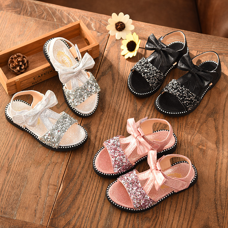 Summer baby Girls sandals Kids Children Sandal Kids Girls Shoes Sequined rhinestone princess beach shoes Silver Pink Black 3 15T in Sandals from Mother Kids