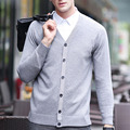 Mens Sweatercoat Autumn Winter Men V-neck Sweatercoats Solid Color Elegant Single Breasted Sweater Cardigan Men Sueter Hombre