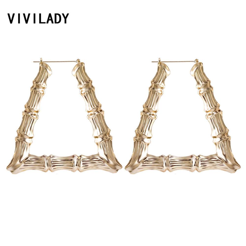 VIVILADY Punk Big Statement Bamboo Trapezoid Hoop Earrings Women Gold Color Basketball Wives Brincos Boho Jewelry Party Gift