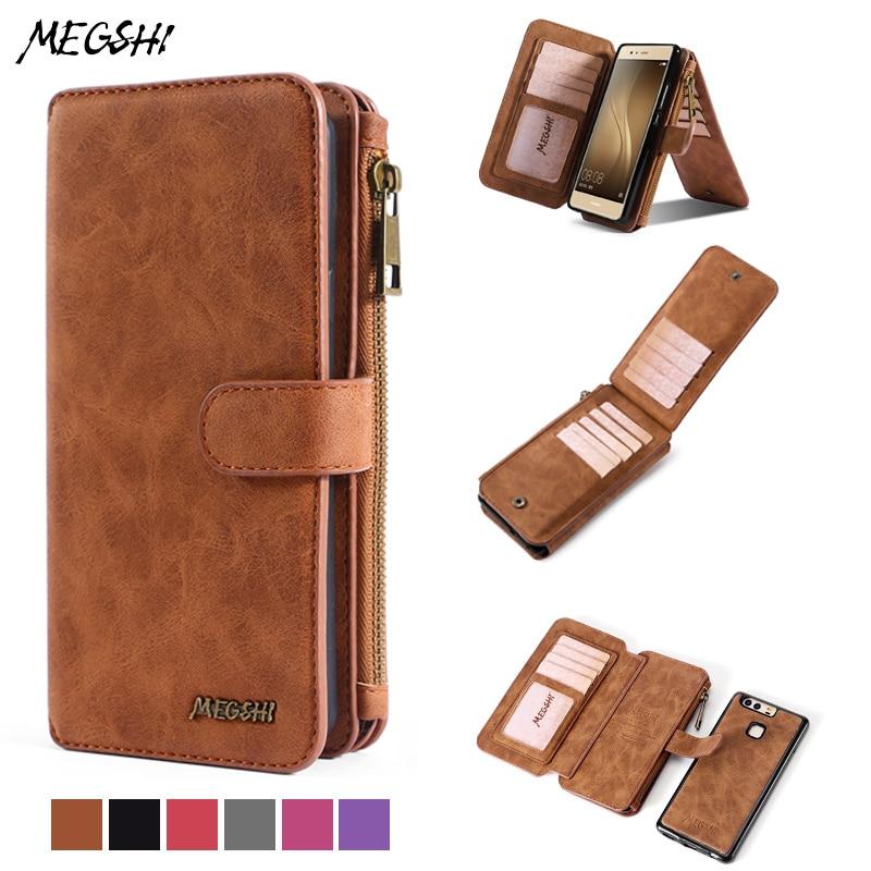 Megeghi para huawei p30 pro case, shell telefone móvel de luxo suporte magnético carteira para huawei p40 case multi-função carteira case
